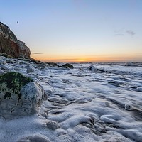 Buy canvas prints of A subtle Winter sunset from Hunstanton beach  by Gary Pearson