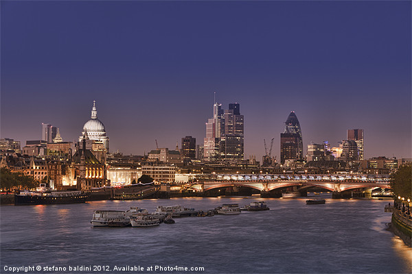 London skyline and river Thames at night Canvas print by stefano baldini