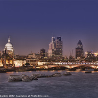 Buy canvas prints of London skyline and river Thames at night by stefano baldini