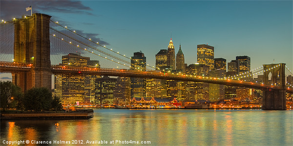 Brooklyn Bridge Twilight Panoramic Canvas print by Clarence Holmes
