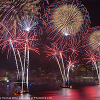 Buy canvas prints of Hudson River Fireworks VIII by Clarence Holmes