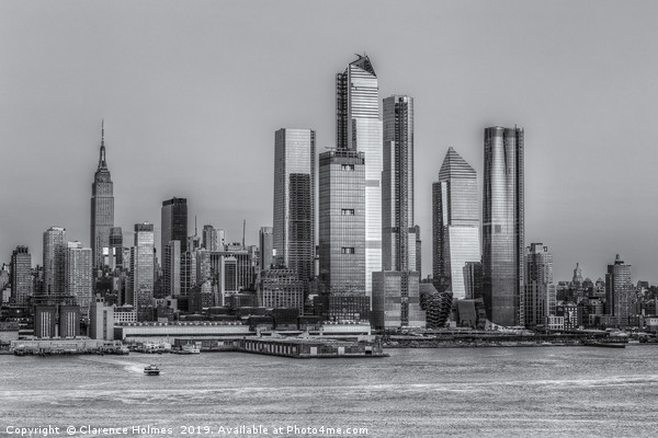 NYC Hudson Yards Development at Sunset II Framed Mounted Print by Clarence Holmes