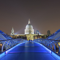 Buy canvas prints of Millenium bridge by Night by Barry Maytum