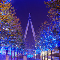 Buy canvas prints of London wheel at night by Garry  Spight