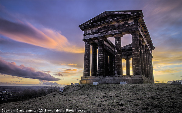 Penshaw Monument Sunset 2 Canvas Print by Angie Morton