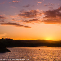 Buy canvas prints of Sunset on Damflask Reservoir by Angie Morton