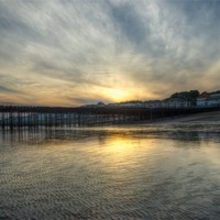 Buy canvas prints of Hastings Sunset by Angie Morton