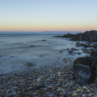 Buy canvas prints of Seaham Beach Moonrise by Angie Morton