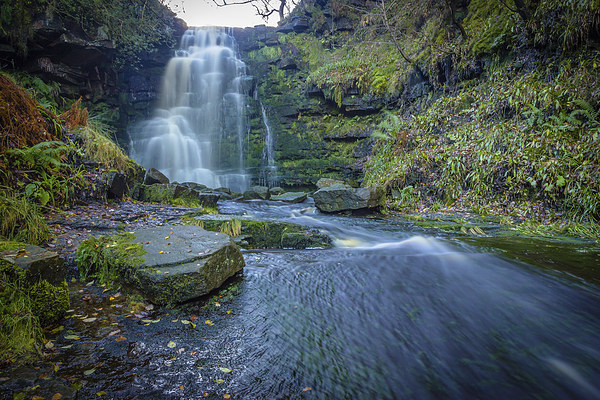 Black Clough Waterfall Canvas Print by Angie Morton