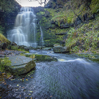 Buy canvas prints of Black Clough Waterfall by Angie Morton