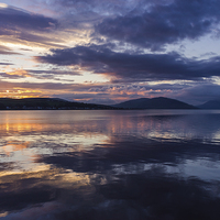 Buy canvas prints of Rothesay Bay at Sunset by Angie Morton
