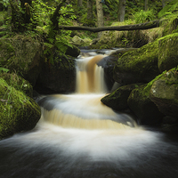 Buy canvas prints of Burbage Brook Cascade by Angie Morton