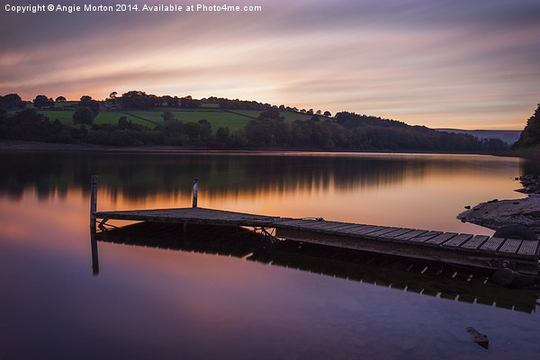 Damflask Reservoir Sunset Canvas Print by Angie Morton