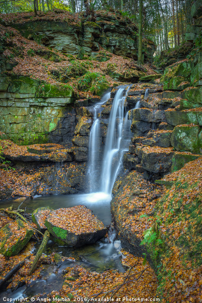 Wharnley Burn Waterfall Canvas Print by Angie Morton