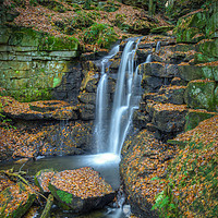 Buy canvas prints of Wharnley Burn Waterfall by Angie Morton