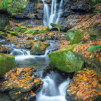 Buy canvas prints of Autumnal Wharnley Burn Waterfall  by Angie Morton