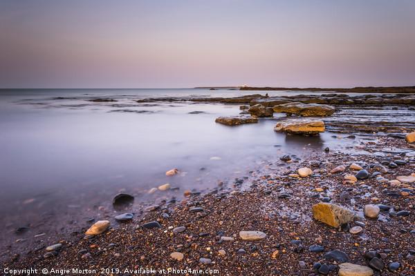 Amble Links Beach Receding Tide Canvas Print by Angie Morton