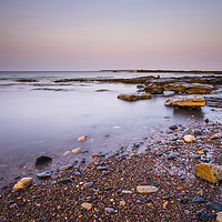 Buy canvas prints of Amble Links Beach Receding Tide by Angie Morton
