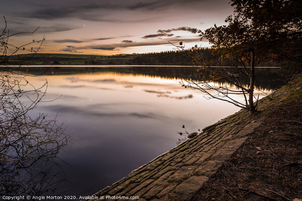 Agden Reservoir Reflections Canvas Print by Angie Morton