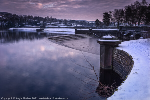 Damflask Reservoir Overflow  Canvas Print by Angie Morton