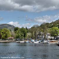Buy canvas prints of Jetties and boats at Ambleside Windermere  by Diana Mower
