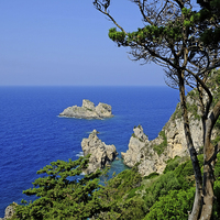 Buy canvas prints of Paleokastritsa Corfu  by Diana Mower