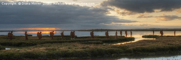 Mersea Island Silhouettes Panoramic Canvas print by Diana Mower