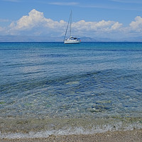Buy canvas prints of Corfu beach Greece by Diana Mower