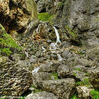 Buy canvas prints of Gordale Scar waterfall Yorkshire by Diana Mower