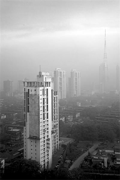 Elevated view of smog filled Bombay Skyline Print by Arfabita