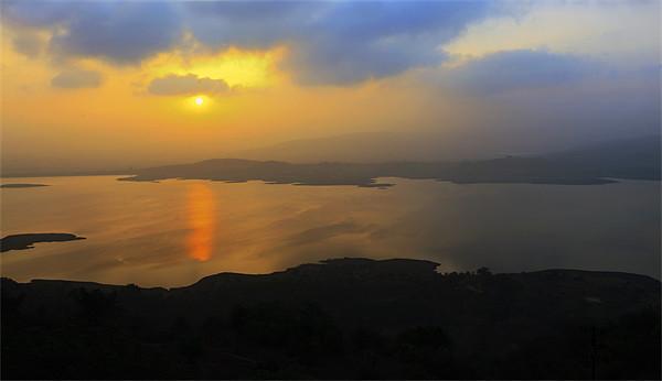 Dawn landscape on Lake Pavna India Print by Arfabita