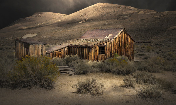 Bodie Ghost Town Shack in the Moonlight Canvas Print by paul lewis