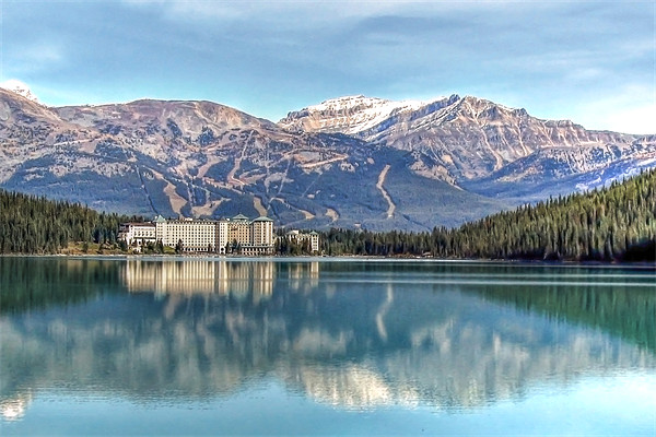 Lake Louise Chateau Canvas Print by World Images