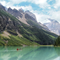 Buy canvas prints of Lake Louise Boat Trip by World Images