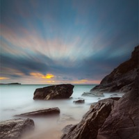 Buy canvas prints of Lust Glaze Cove at Sunset - Long Exposure by Jonathan Swetnam