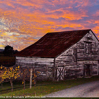 Buy canvas prints of Sunset Barn by Nik Catalina