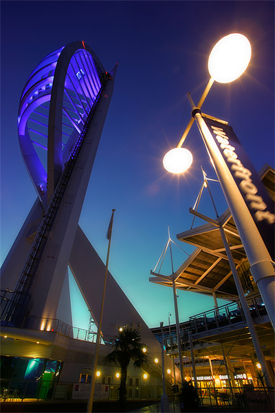 Portsmouths Spinnaker Tower Illuminated at dusk Canvas print by Ashley Chaplin