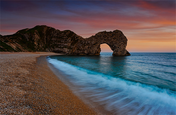 Durdle Door Sunset Wave Canvas print by Ashley Chaplin