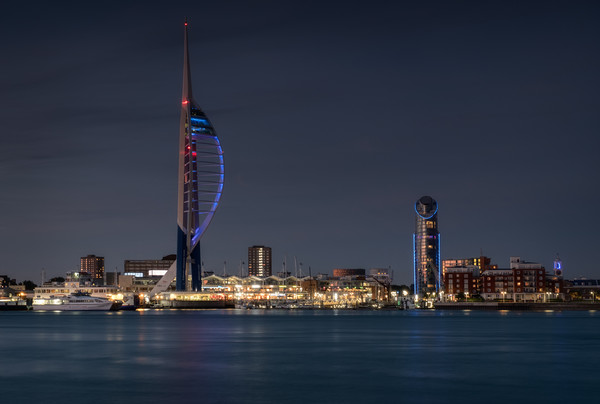 Spinnaker Tower and Lipstick Tower at dusk Print by Ashley Chaplin