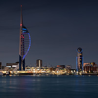 Buy canvas prints of Spinnaker Tower and Lipstick Tower at dusk by Ashley Chaplin