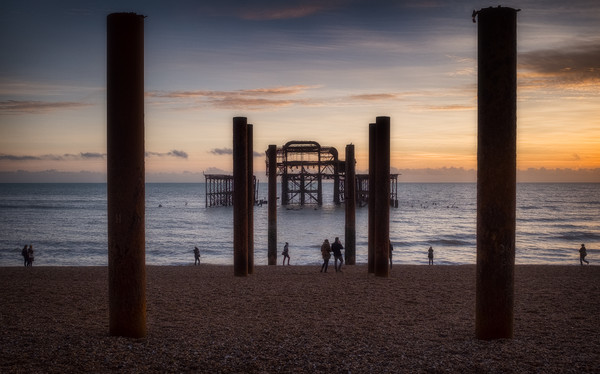 Brighton West Pier sunset Canvas print by Ashley Chaplin