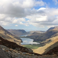 Buy canvas prints of BUTTERMERE FROM HAYSTACKS by Anthony Kellaway