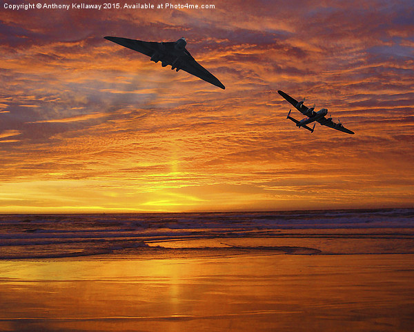 AVRO VULCAN XH558 AND AVRO LANCASTER Canvas Print by Anthony Kellaway