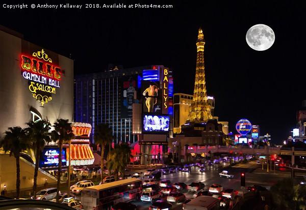 Las Vegas full moon Canvas Print by Anthony Kellaway