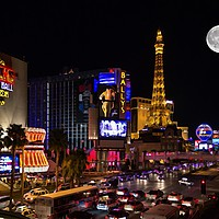 Buy canvas prints of Las Vegas full moon by Anthony Kellaway