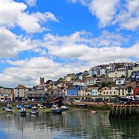 Buy canvas prints of    Brixham harbour                             by Anthony Kellaway