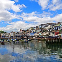 Buy canvas prints of    Brixham harbour Devon                           by Anthony Kellaway