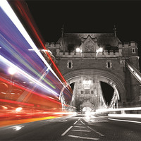 Buy canvas prints of London Bus light trail by Rob Laker