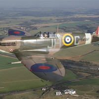 Buy canvas prints of Spitfire over Kent by Rob Laker