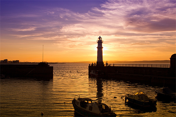Newhaven harbour Edinburgh lighthouse Canvas Print by James Marsden